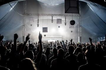 Crowd of techno ravers