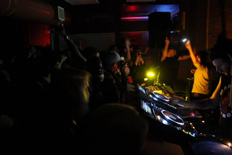 The intimate DJ booth and dance floor of Hot Mass in Pittsburgh, Pennsylvania